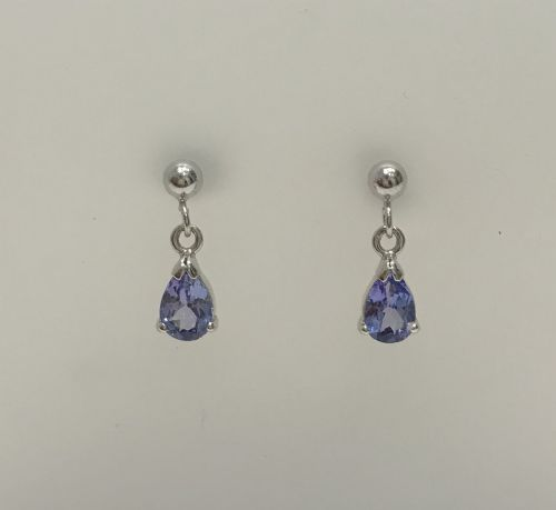 Pear Shaped Tanzanite White Gold Earrings